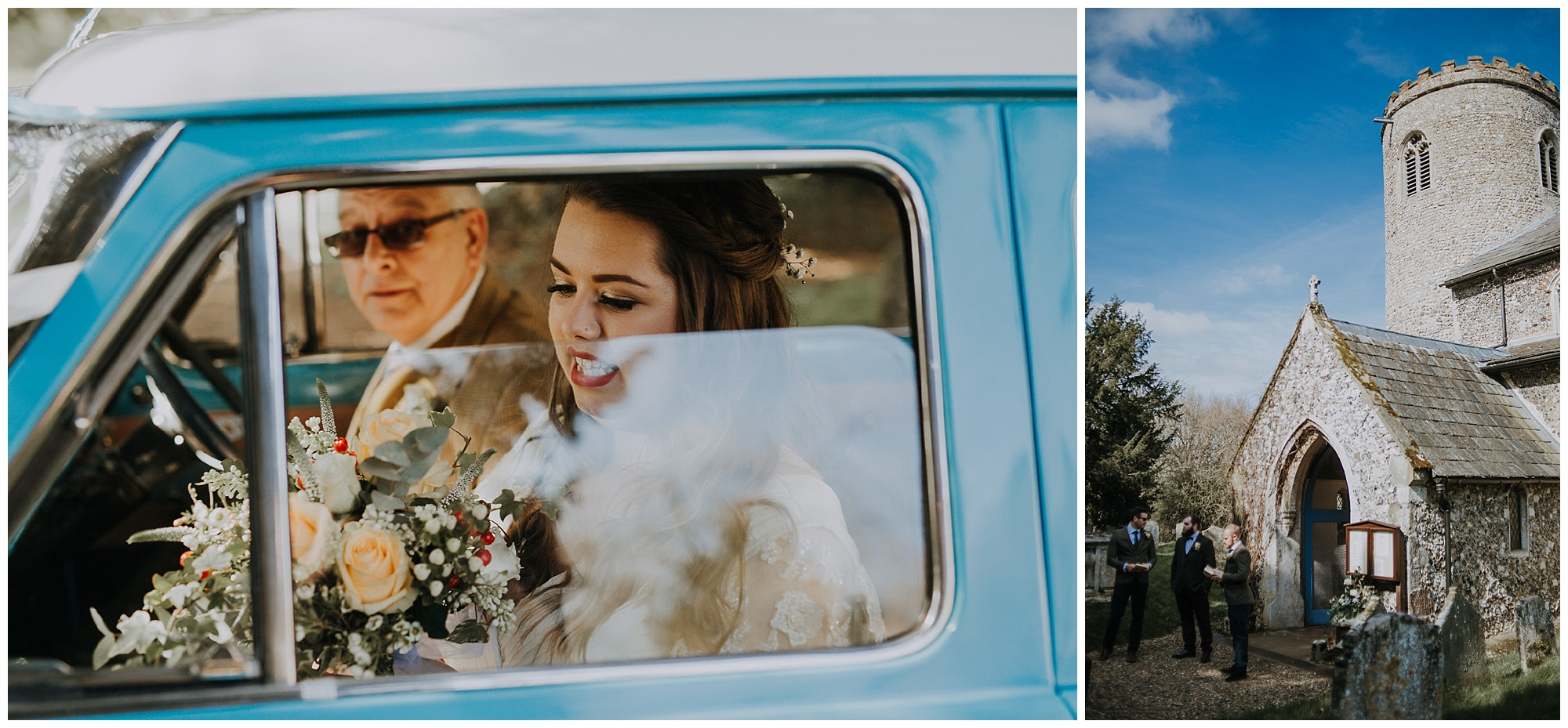 bride arrives in ford anglia