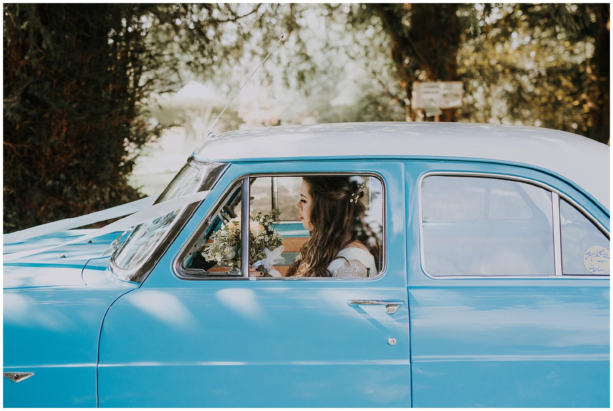 ford anglia car at wedding