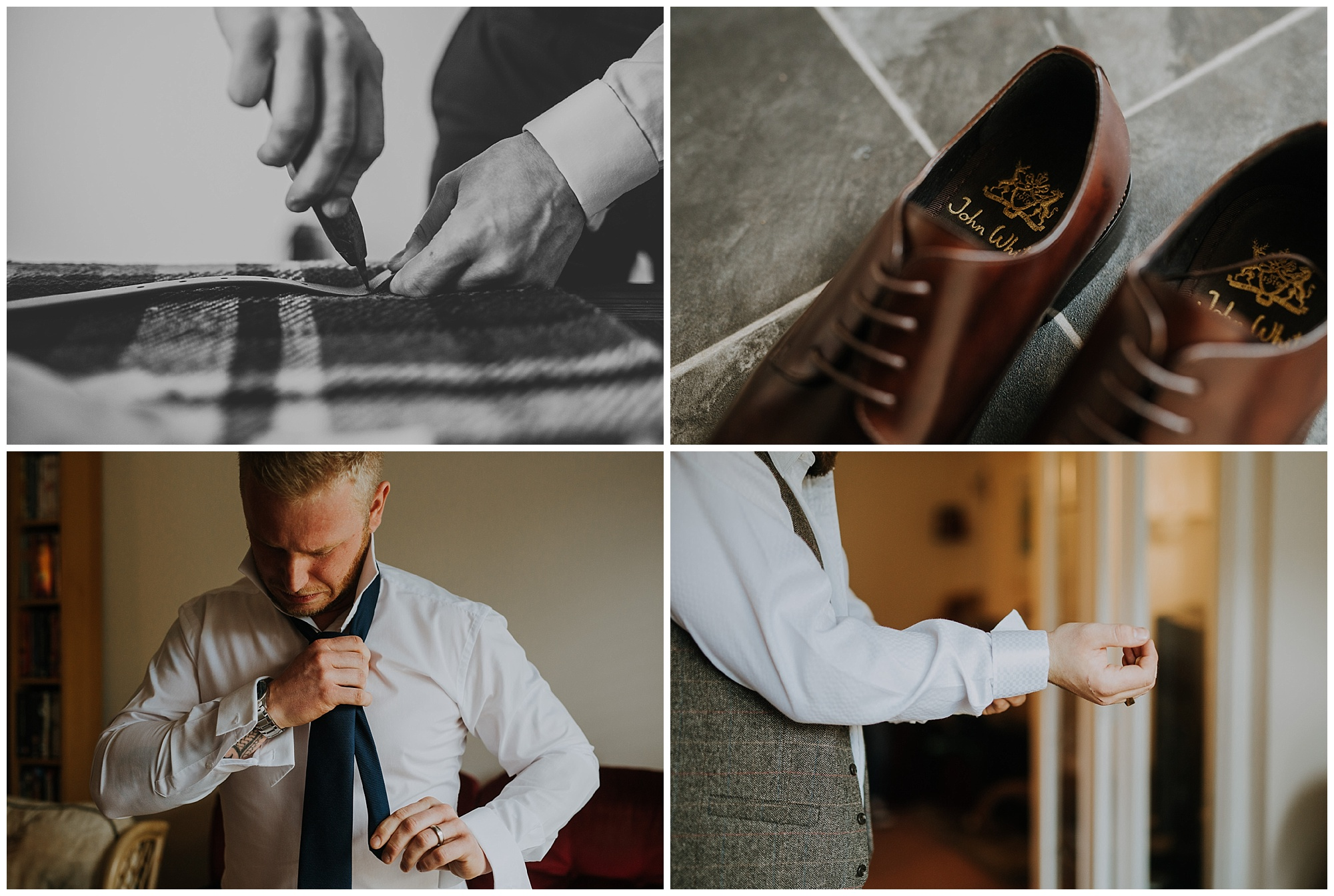 groomsmen do their ties and laces