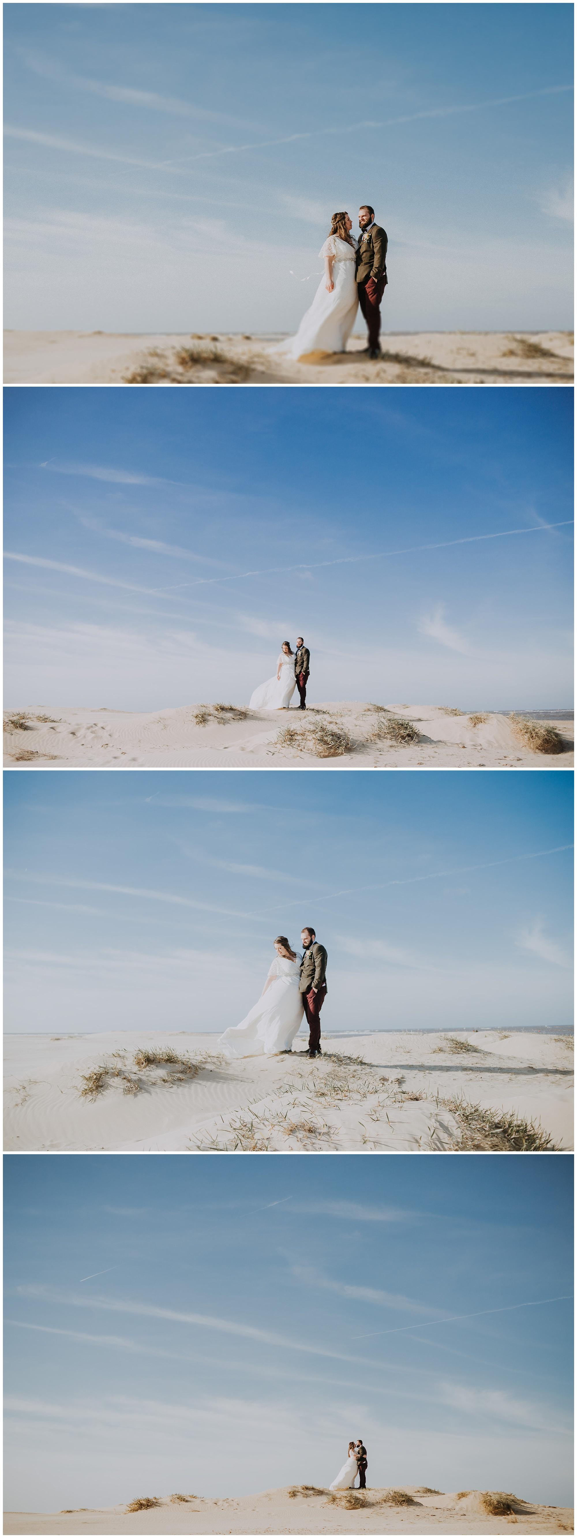 couple have wedding photographs on beach