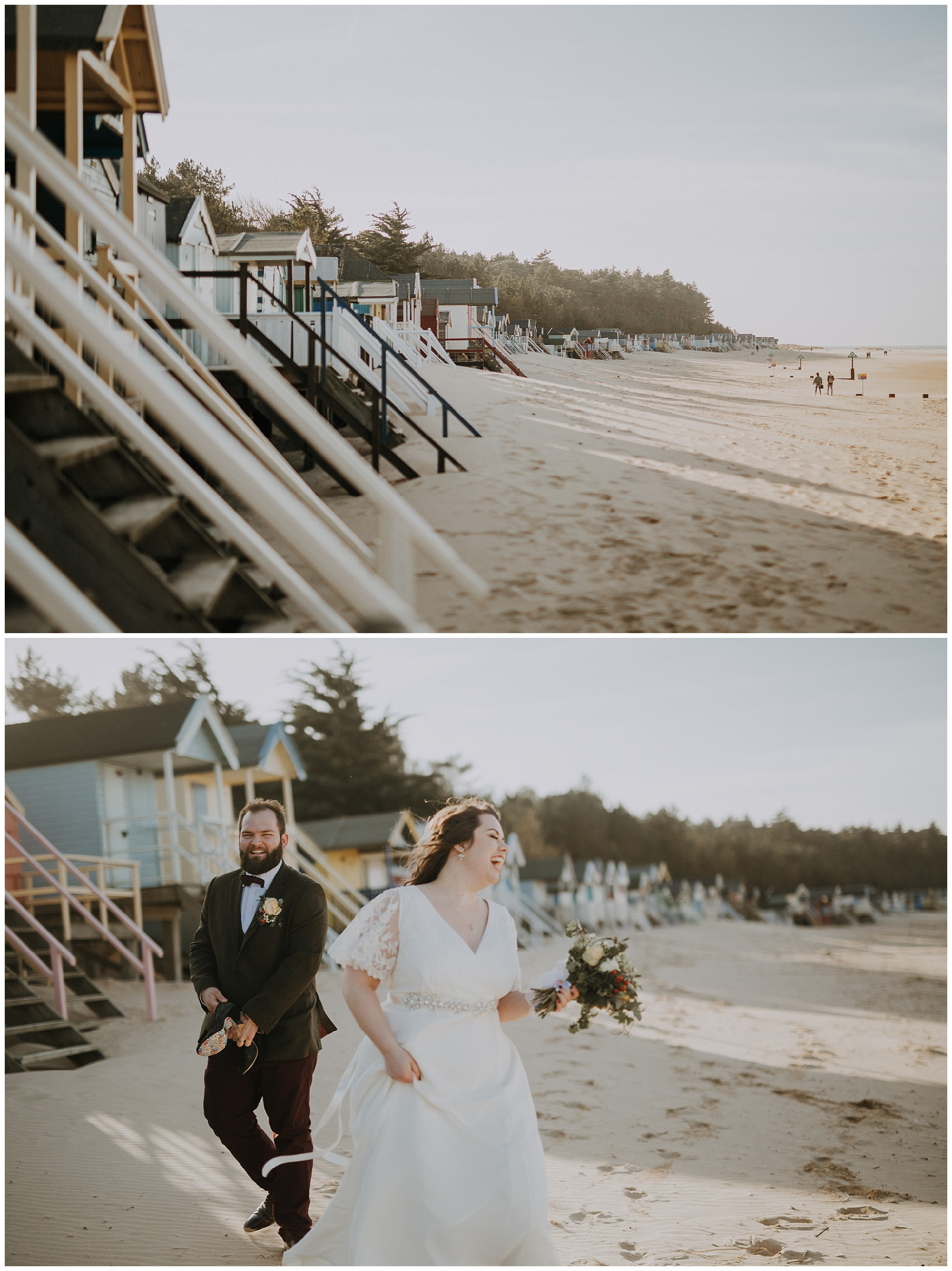 bride and groom by beach huts