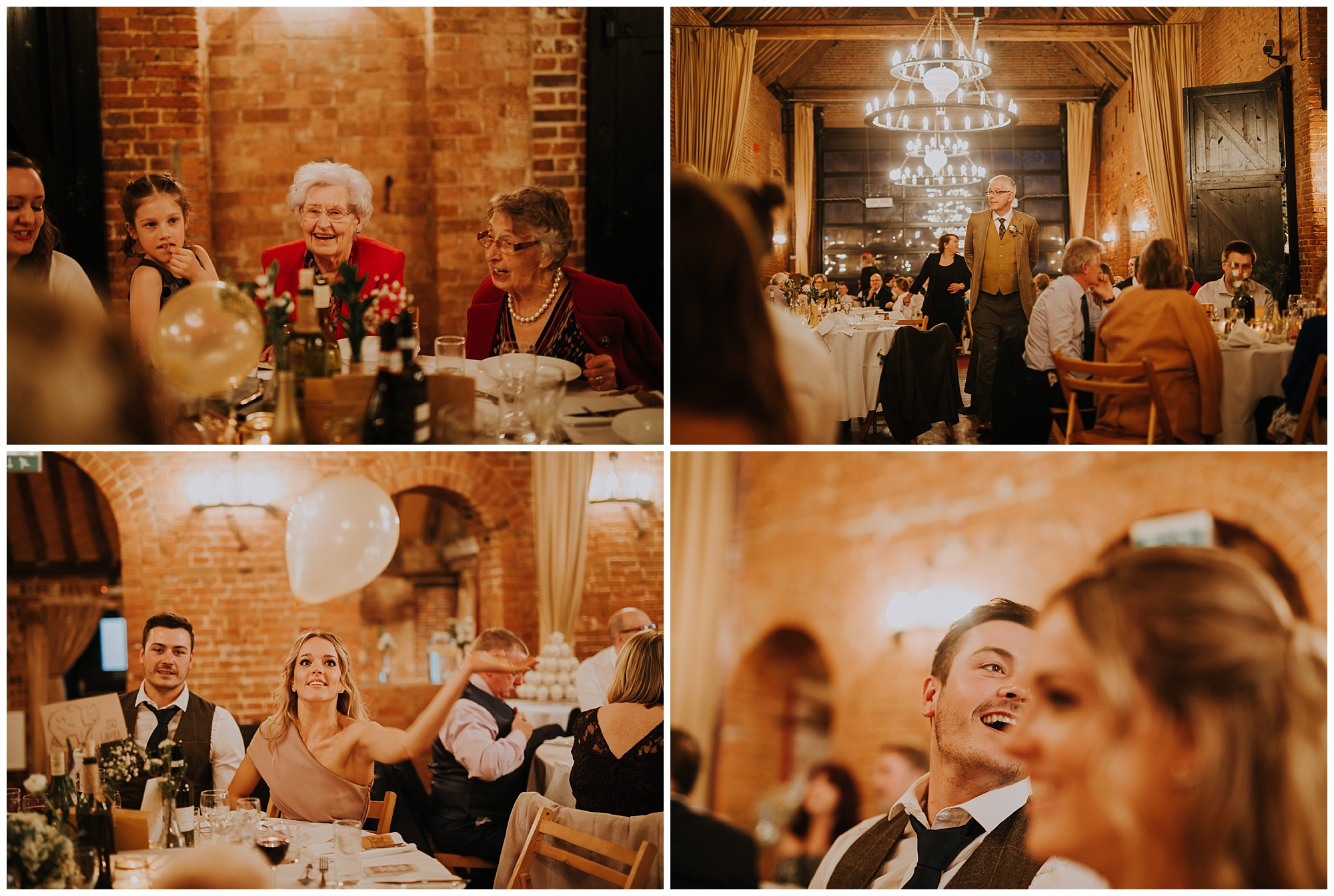 guests and laughter at a wedding reception