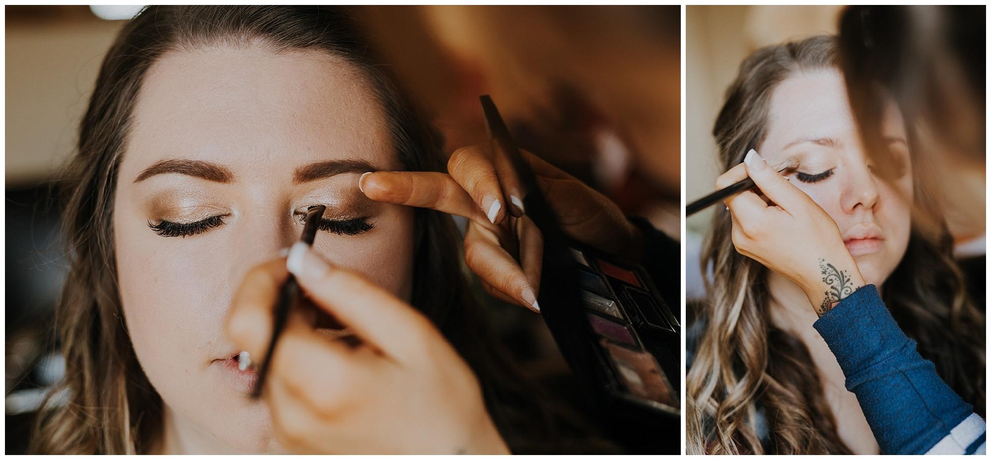 bride has her makeup done