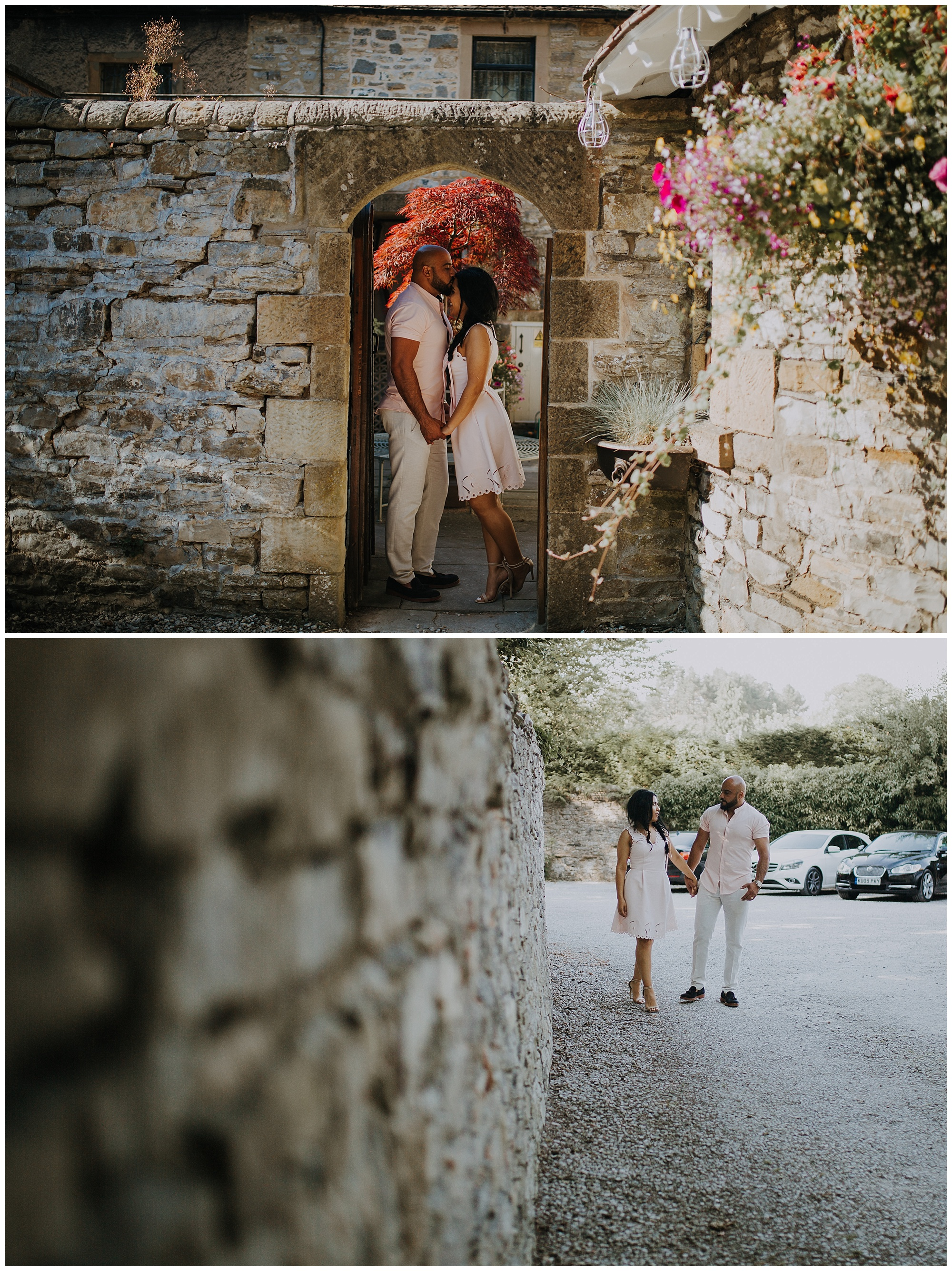 archways and brick walls engagement session