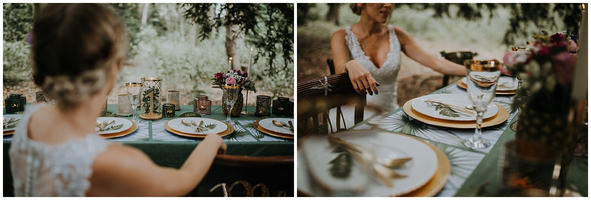 a bride sits at the table