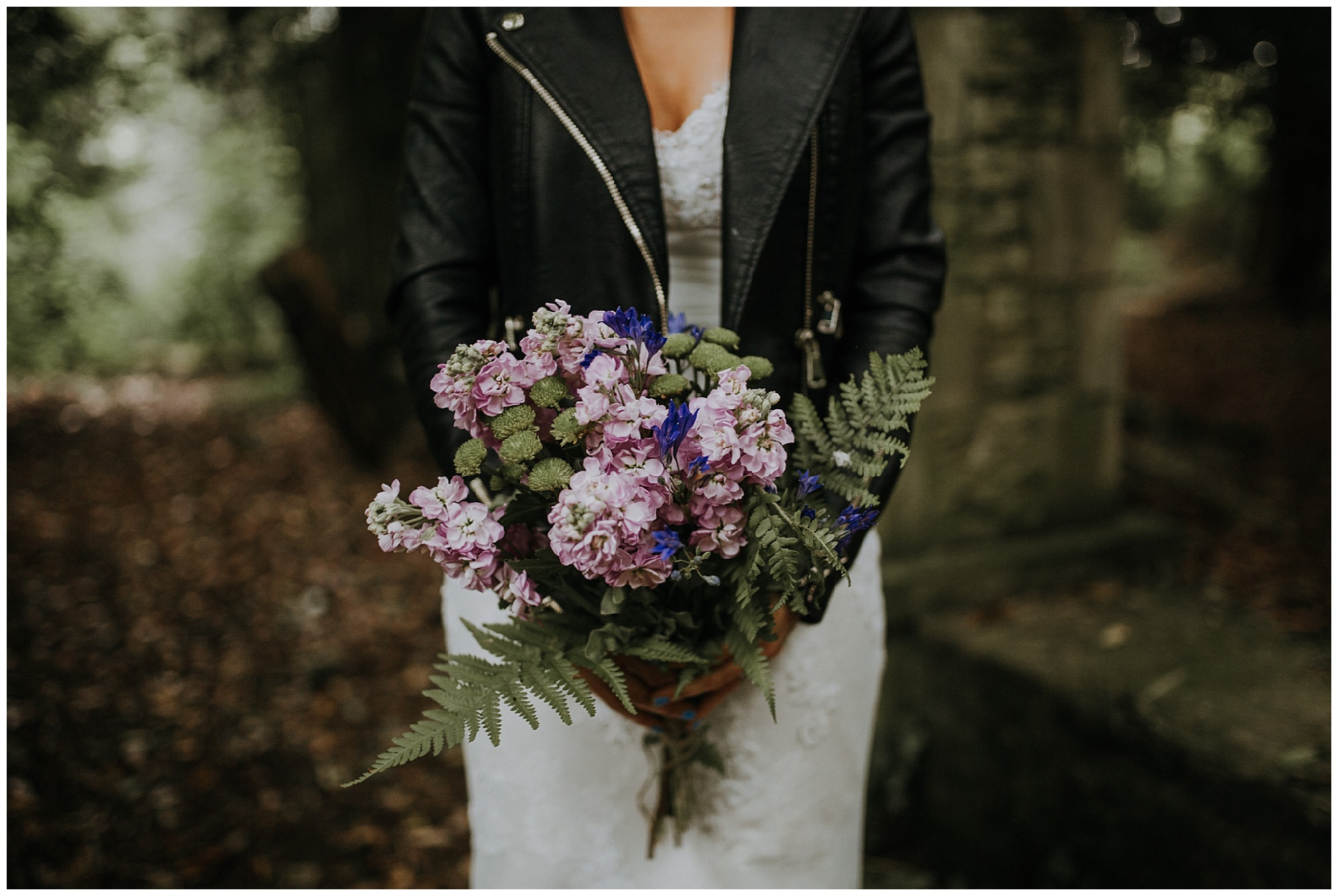 wedding flowers and leather jacket