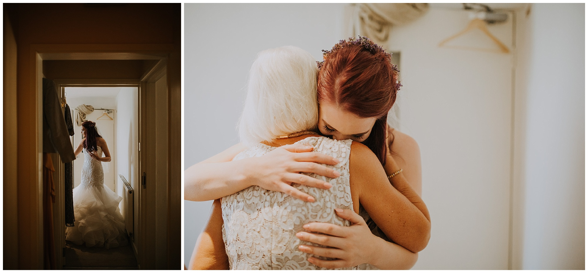 bride and her mother hug