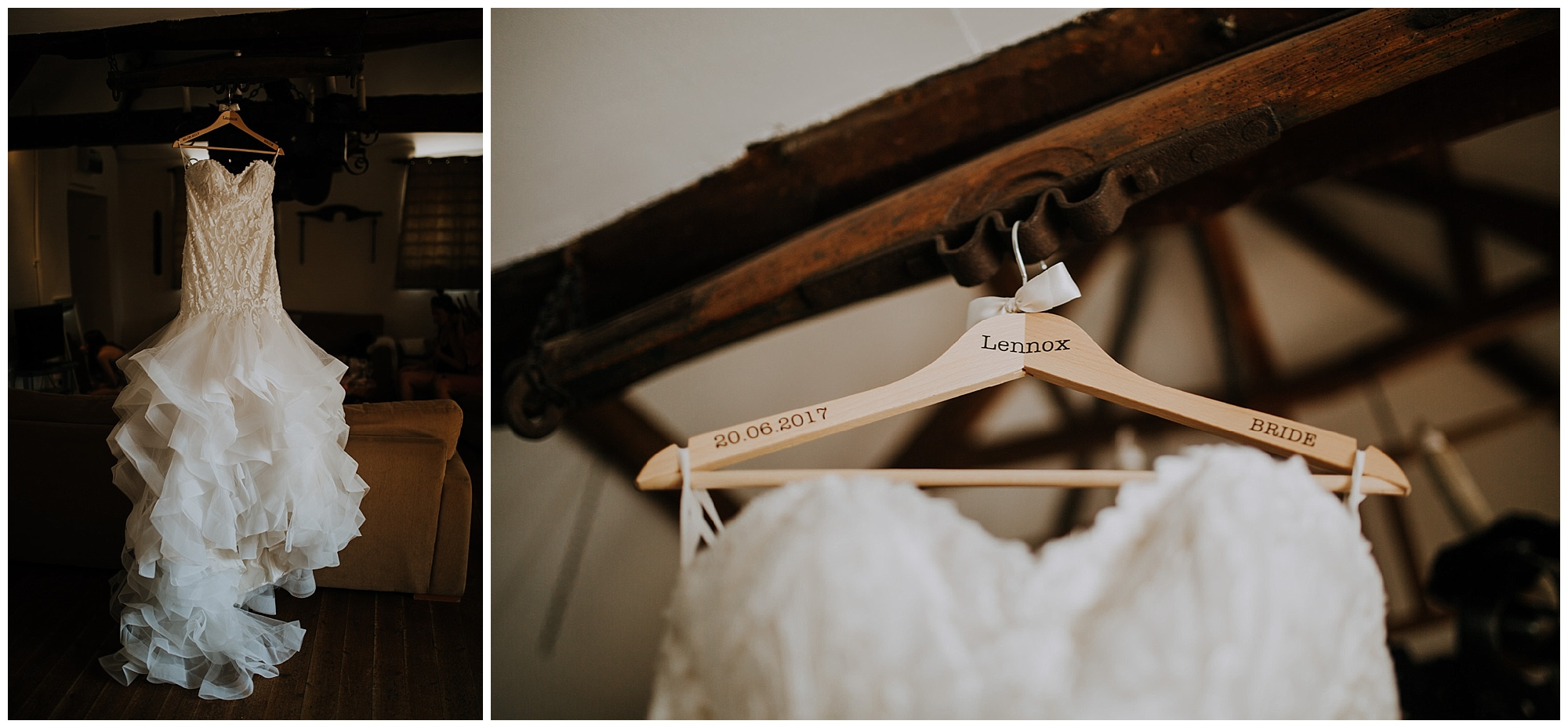 wedding dress hanging from beams