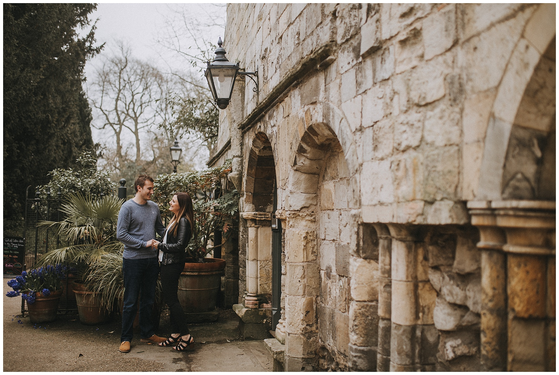 a couple in Yorks museum gardens