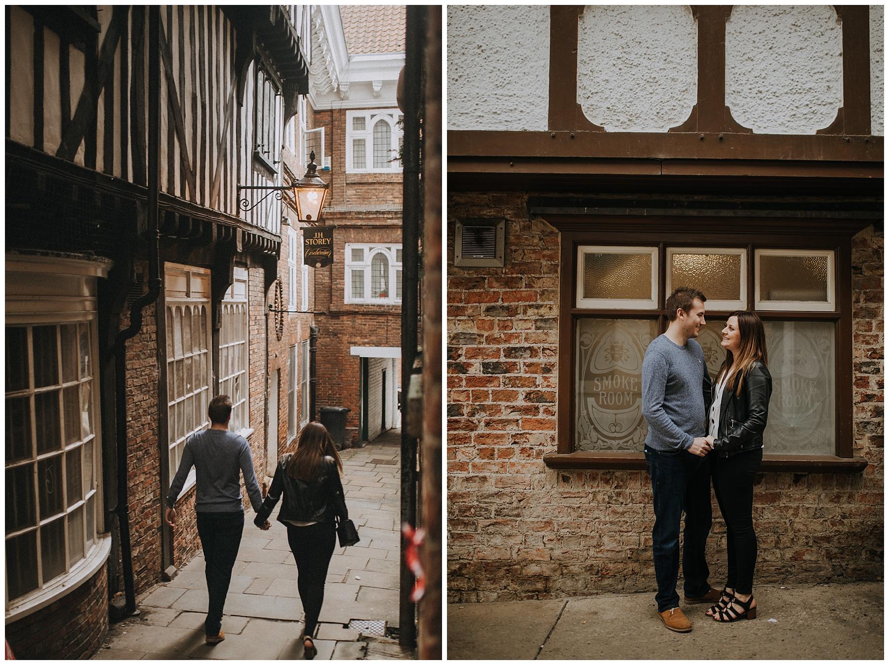 in front of York's pub windows