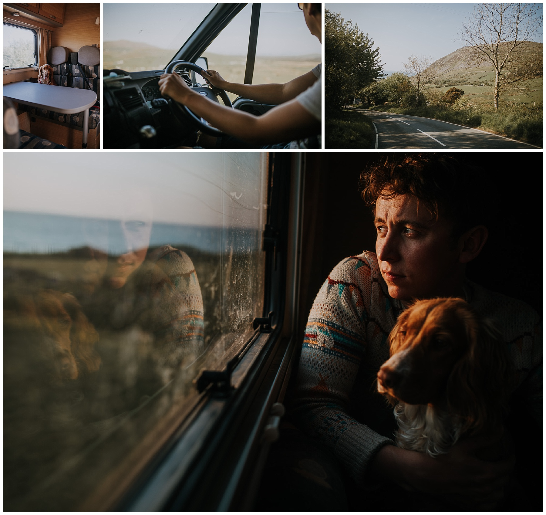 a man looks out a camper window