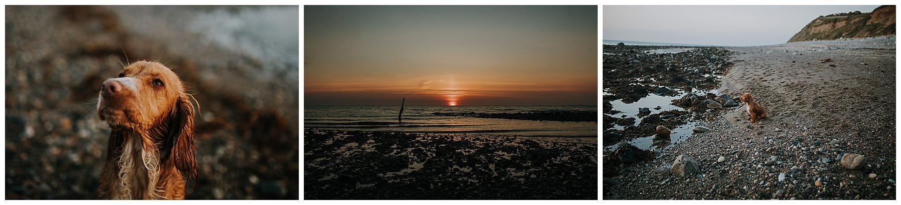 the sun sets into the sea