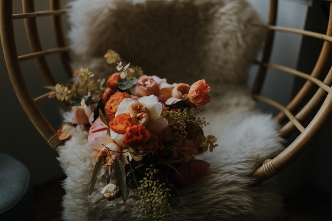 flowers on a fur rug