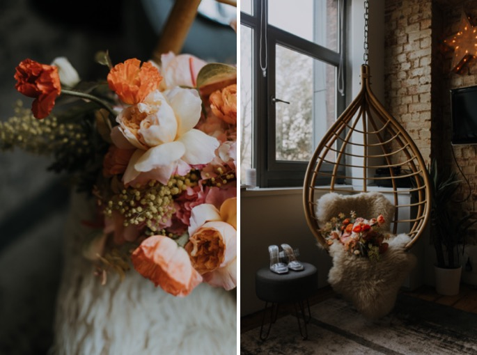 flowers and a hanging chair