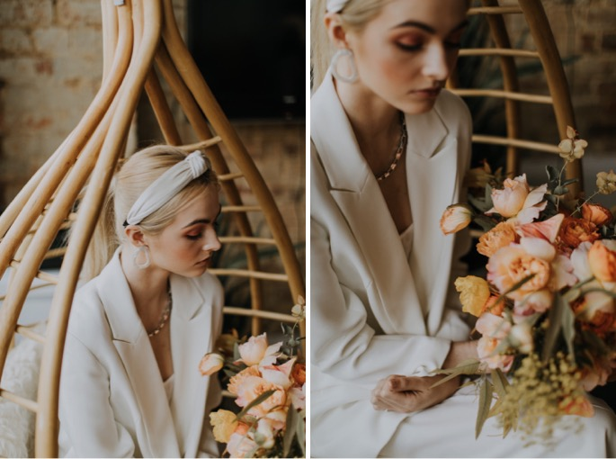 bridal portraits in the window