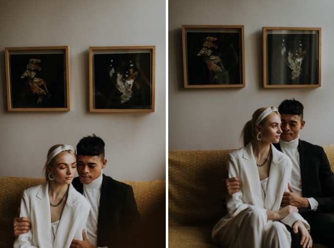portraits of a couple in their home