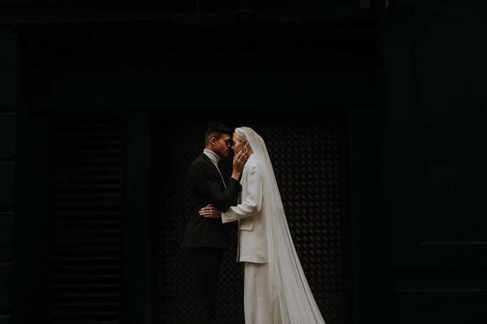 a couple embrace after eloping