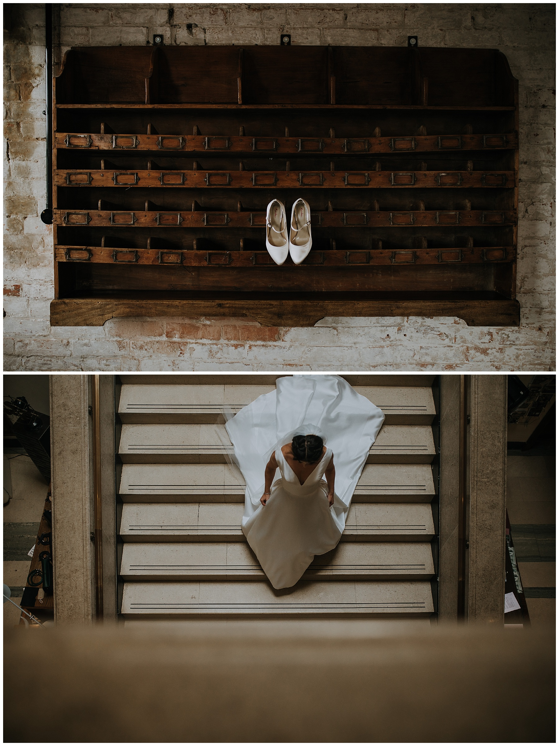 a bride walks down the stairs