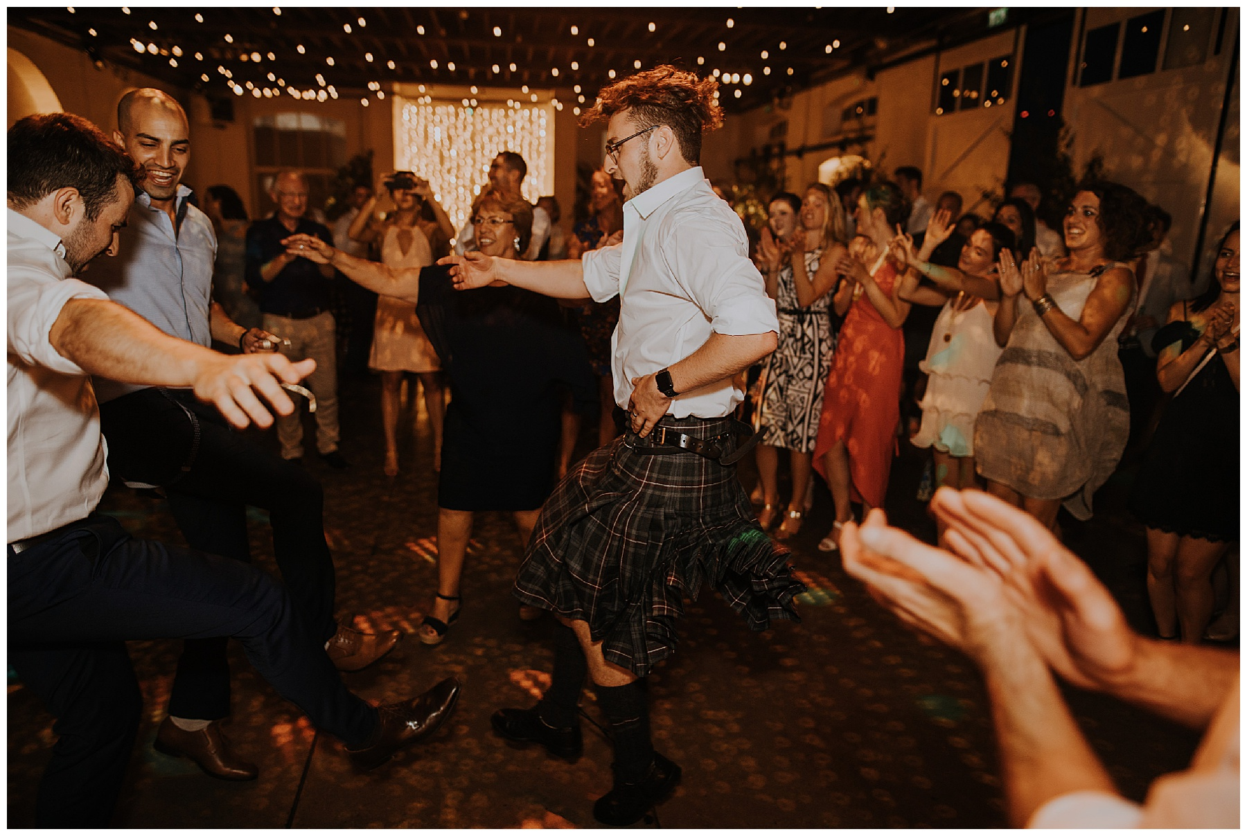 man dances in a kilt