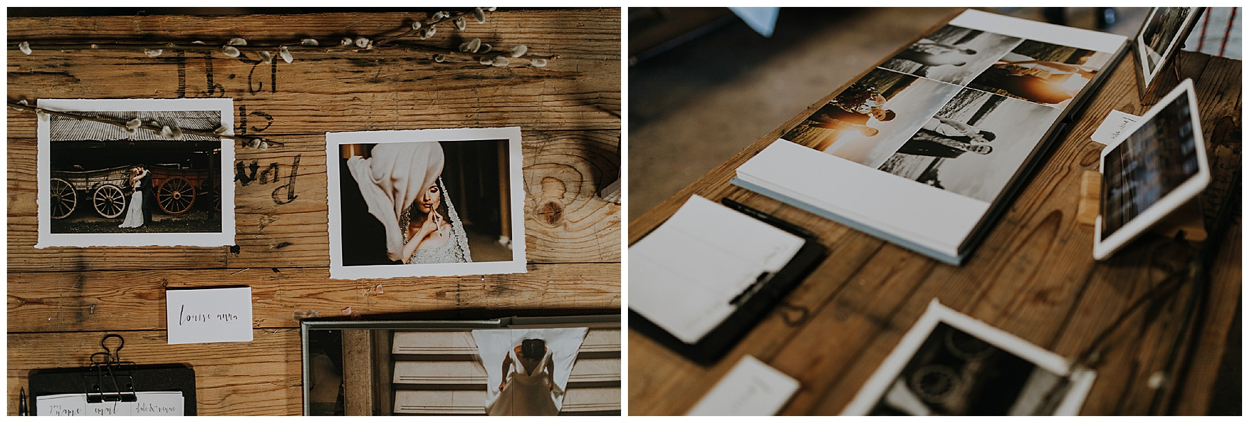 deckled edge photos for a wedding stand