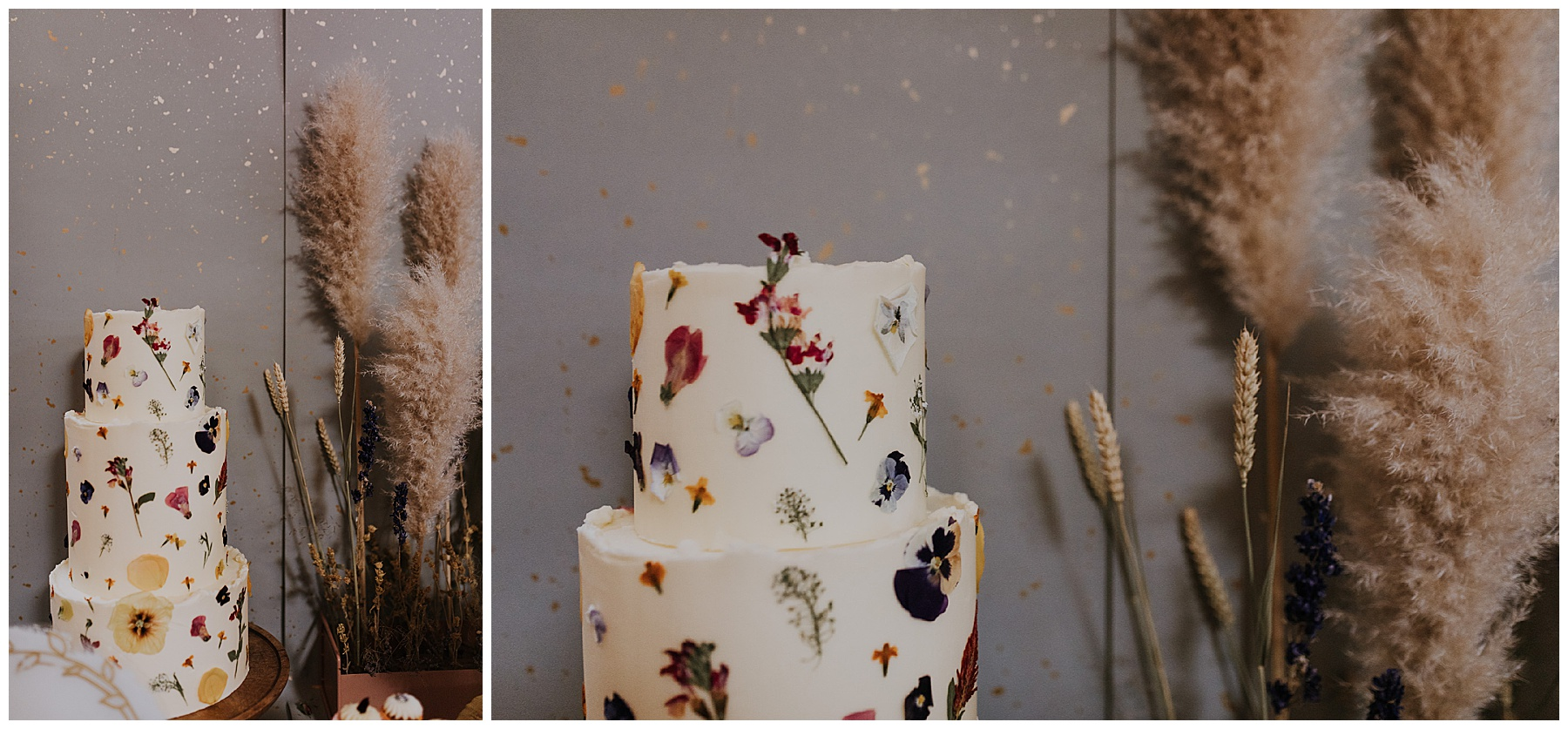 wedding cake with dried flowers