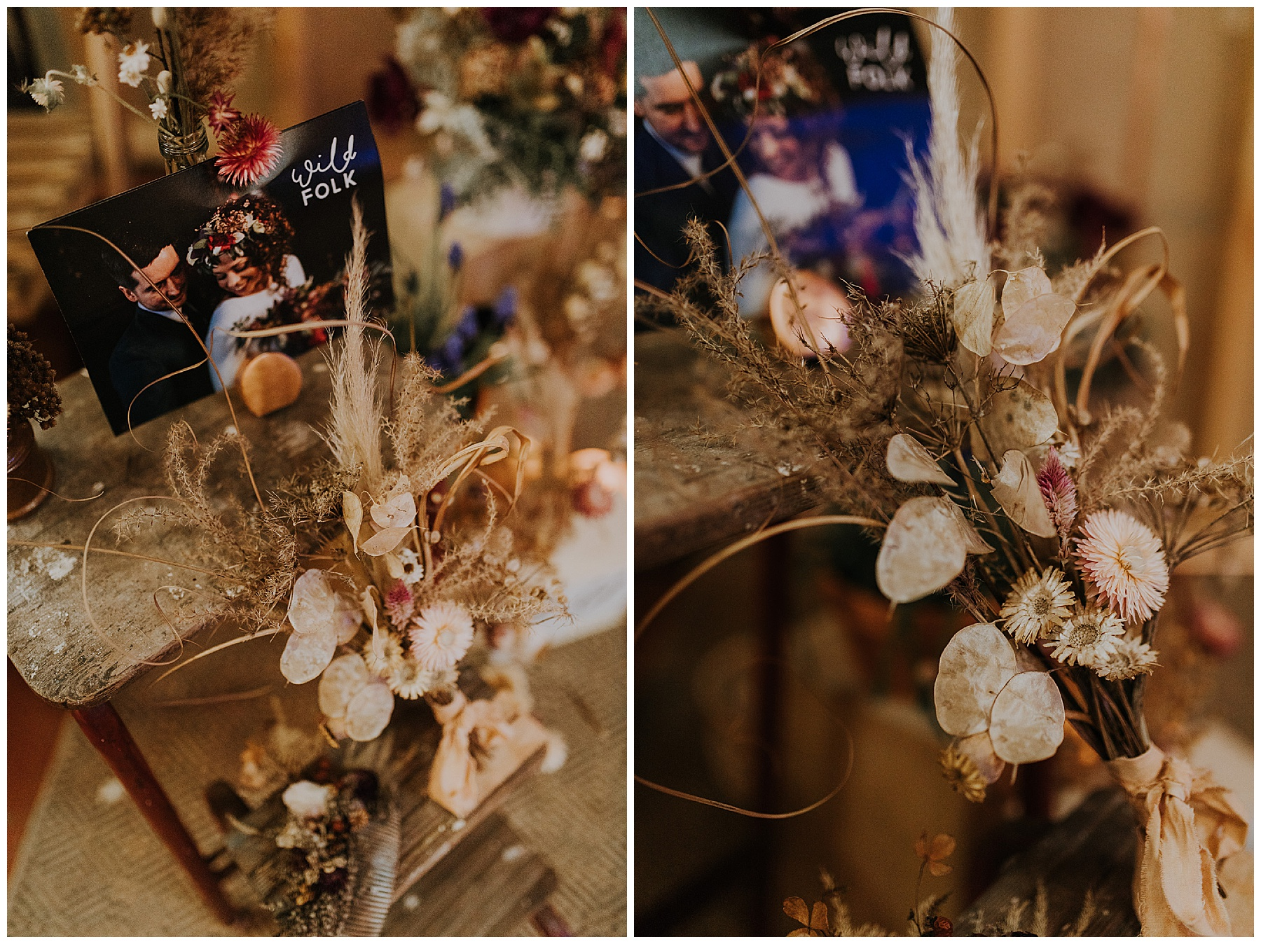 dried flowers styled for weddings