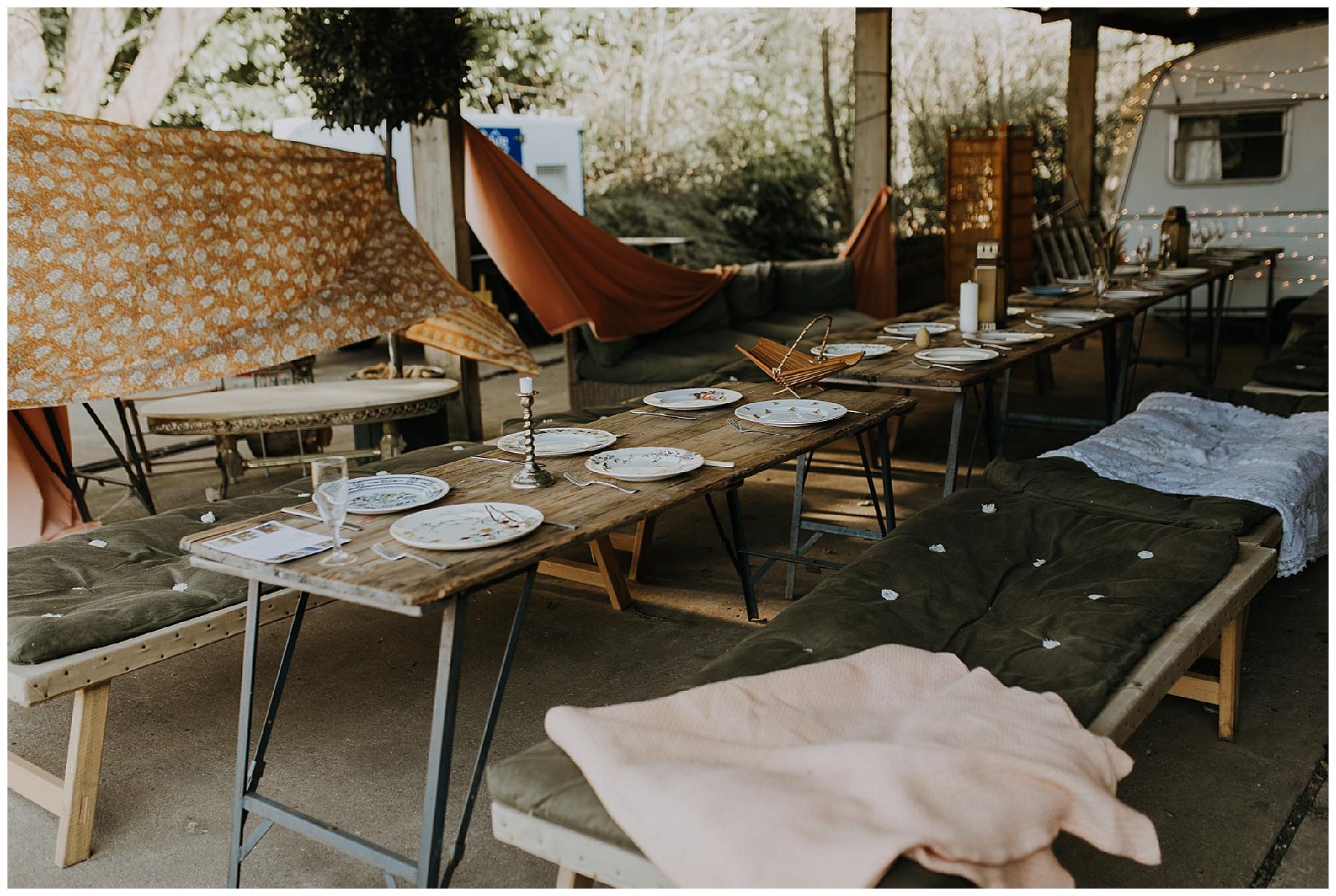 boho, rustic styled wedding set-up