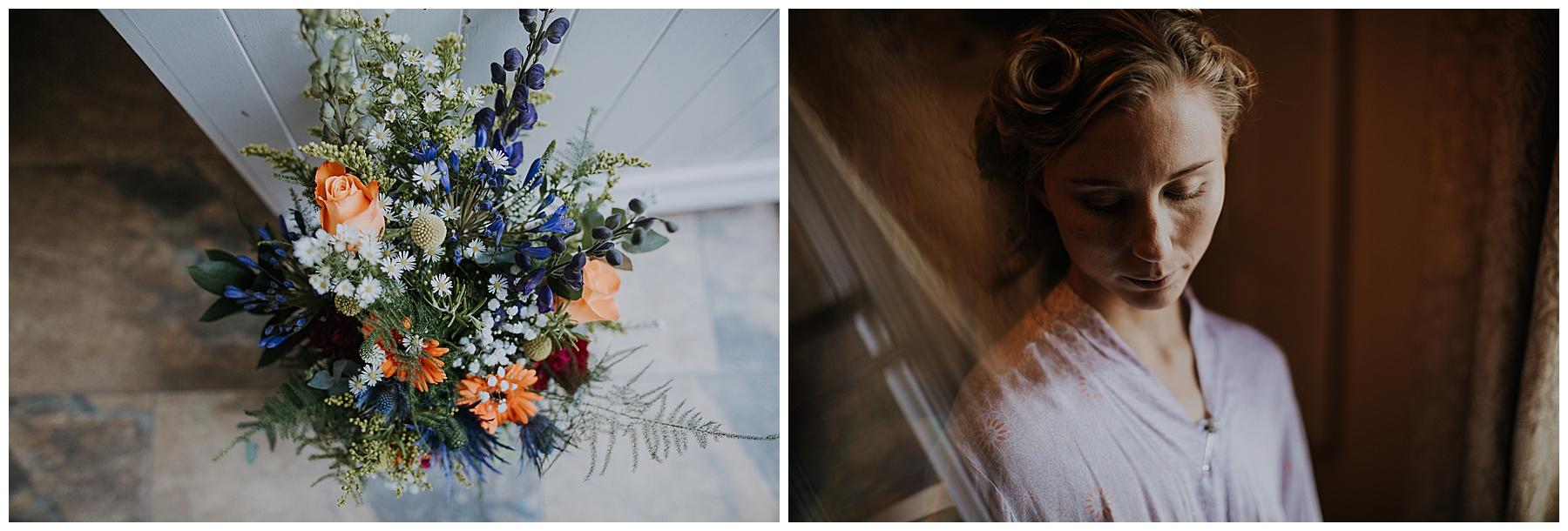 flowers sit in a doorway