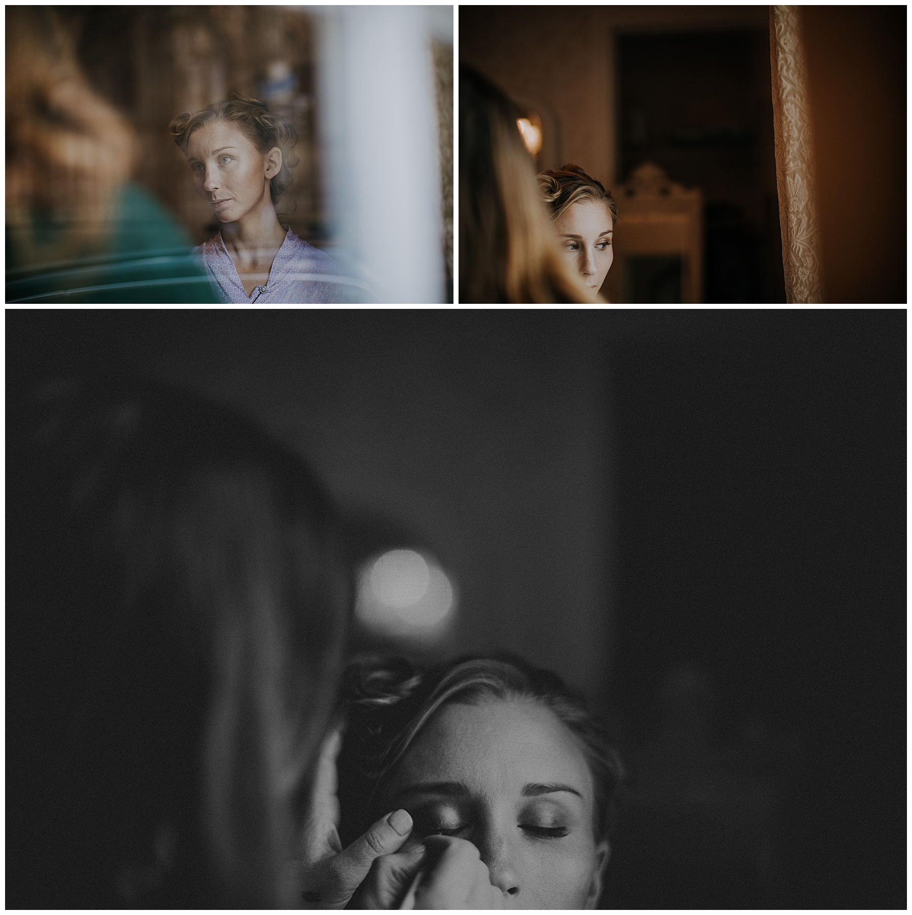 a woman looks out the window as she has her makeup done.