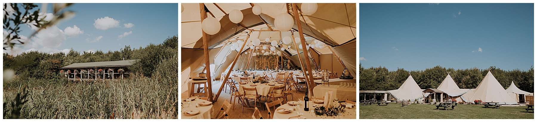 tipis and structures at a wedding venue