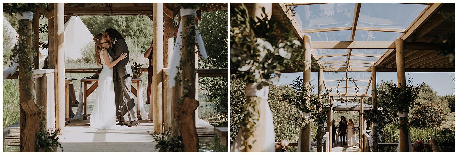 a wedding day first kiss