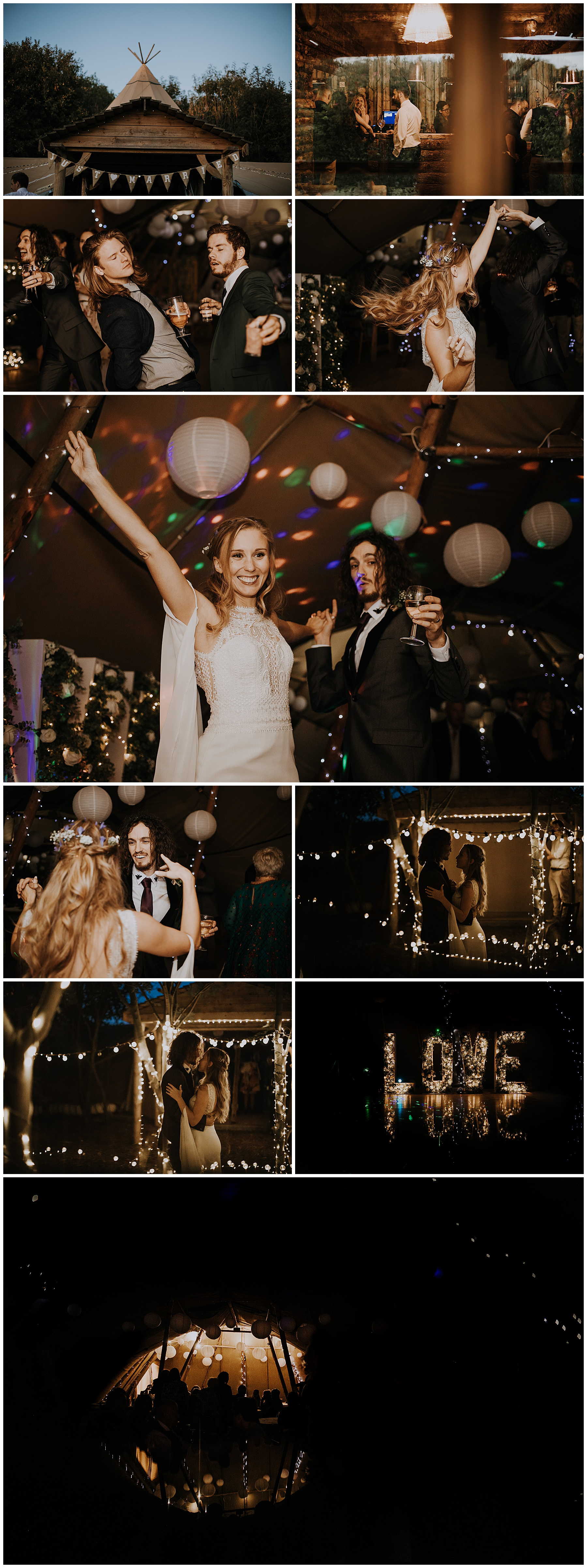 dancing and celebrating in the evening