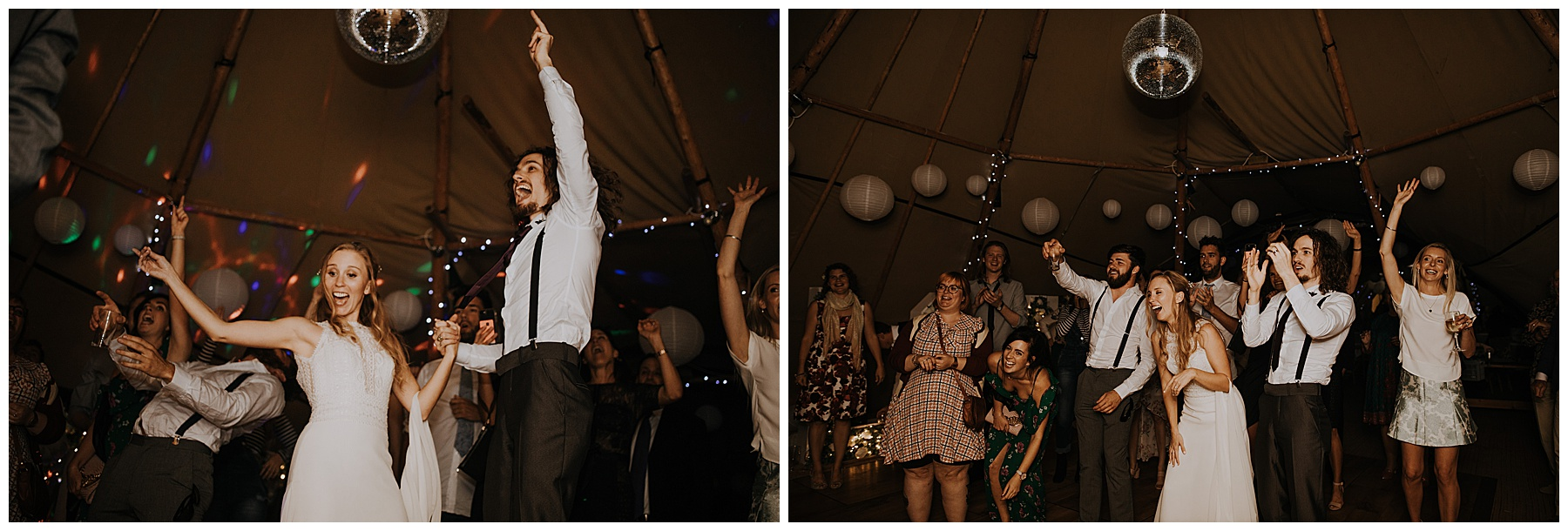 bride and groom dance under the disco ball.