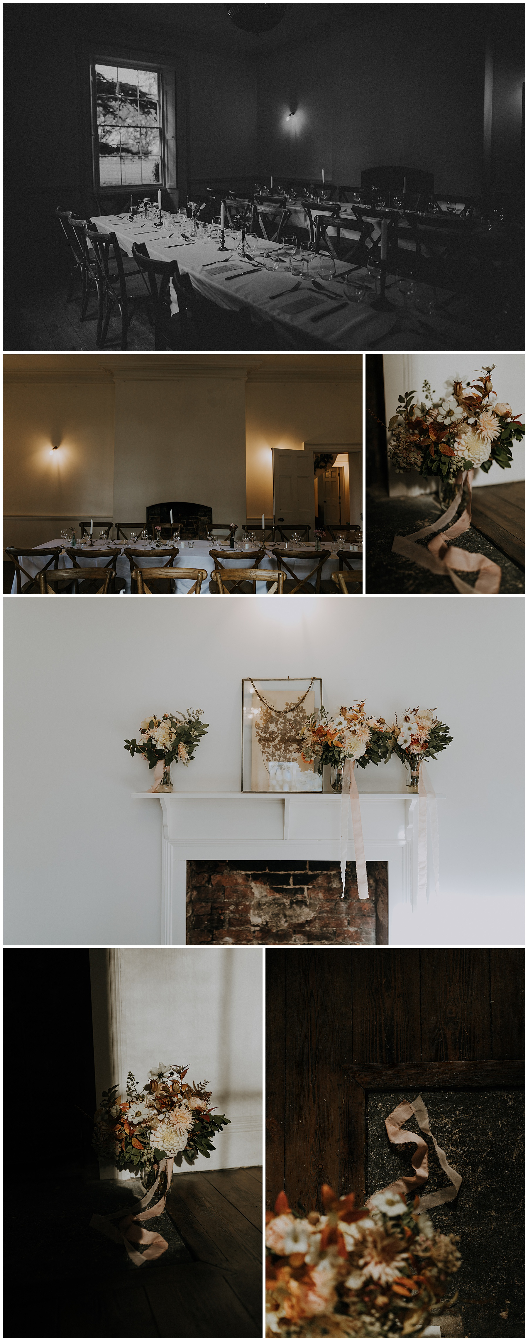 floral decorations sit atop a fireplace