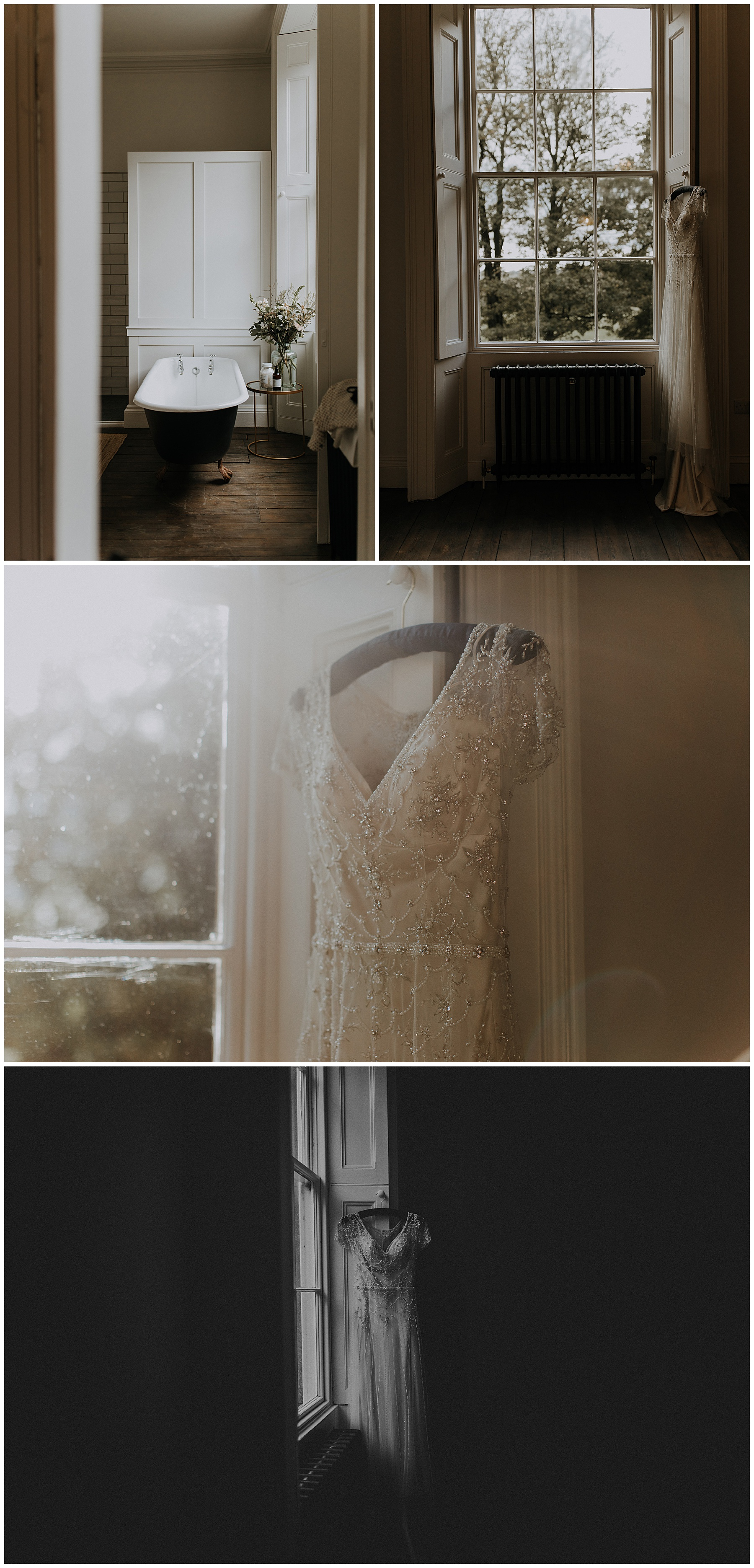 a Maggie Sottero dress hangs in the hallway